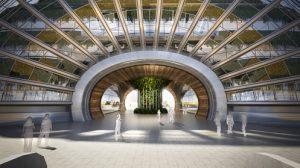 В Ковчеге предполагается создание нескольких этажей. Много зелени превращает здание в зимний сад